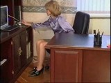 Helping his sexy mother at office-what a great short fuck