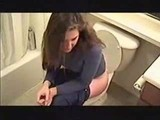 hot lady pooping farting on toilet 6